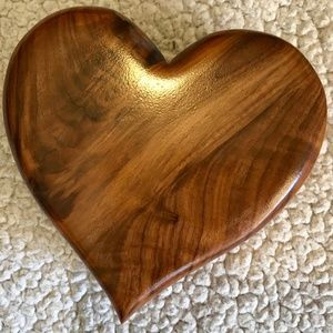 Vintage Heart-shaped wooden musical jewelry box